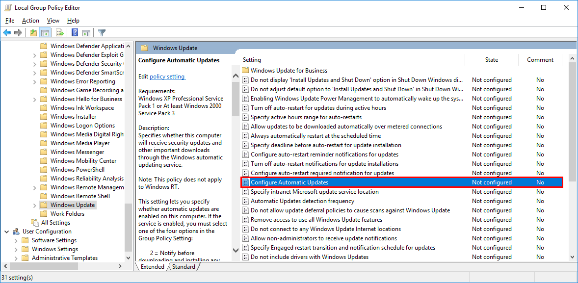 disable automatic driver updates windows 10 group policy